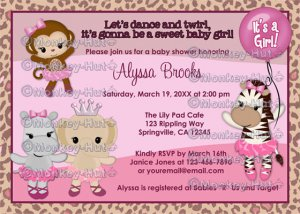 Tu Tu Cute Baby Shower invitation MONKEY GIRL TTC (DIGITAL)