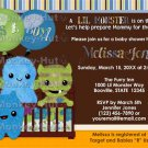 Monster Baby Shower Invitation Peek a Boo Monsters BOY (DIGITAL)