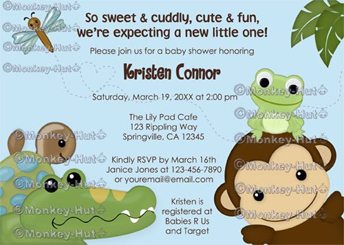 MONKEY Papagayo Baby Shower invitation monkey frog turtle crocodile dragonfly BLUE PML-B (DIGITAL)