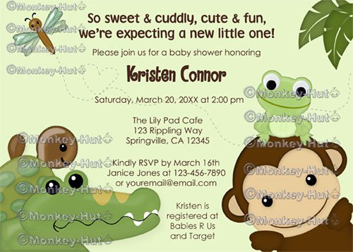 Papagayo Baby Shower Invitation monkey frog turtle crocodile (DIGITAL)