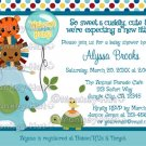 Animal Parade Baby Shower Invitation Elephant Hippo Lion Tiger Turtle (DIGITAL)