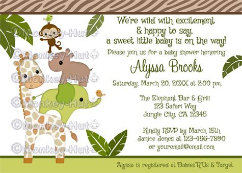 Wildlife Jungle Friends MONKEY Baby Shower invitation neutral WJC (DIGITAL)