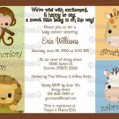Monkey Jungle Baby Shower invitation neutral MJS (DIGITAL)
