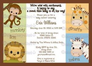Monkey Jungle Baby Shower invitation neutral MJS (DIGITAL)