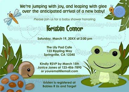 Hippity FROG Baby Shower invitation turtle snail boy girl neutral HFK (DIGITAL)