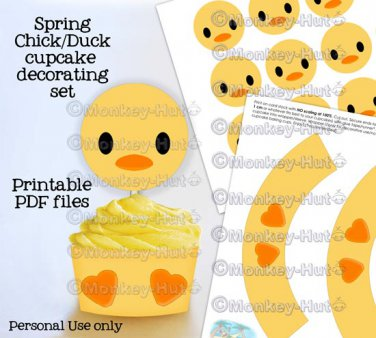 Adorable Yellow Spring Chick/Duck cupcake decorating set topper wrappers favor PDF file