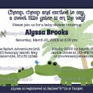 Alligator Blue striped baby shower invitation AMP (DIGITAL)