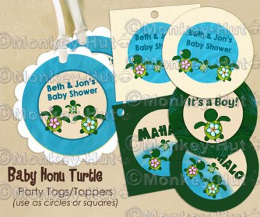 Honu Turtle Personalized Baby Shower Tags (favor, cupcake topper) circle shape (Baby Honu)