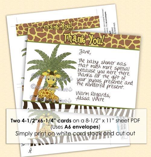 Giraffe Baby Mommy Shower Thank You card FLAT blank PDF file (DIGITAL)
