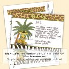 Giraffe Baby Mommy Shower Thank You card FLAT blank PDF file (DIGITAL)