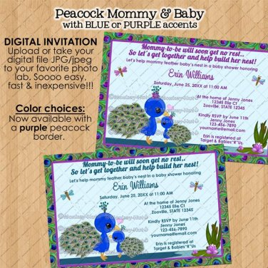 PEACOCK baby shower invitation / mommy girl boy neutral / DIGITAL INVITATIONS