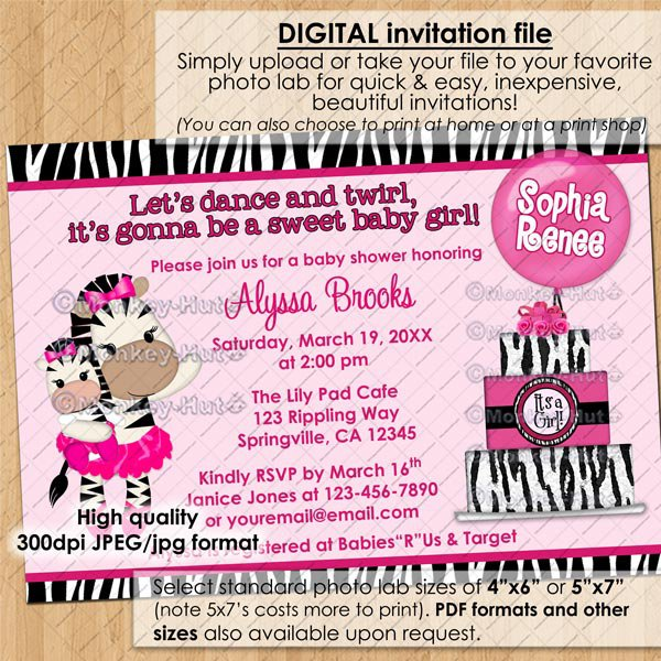 TuTu Cute Baby Shower invitations ZEBRA GIRL / hot pink / DIGITAL INVITATION