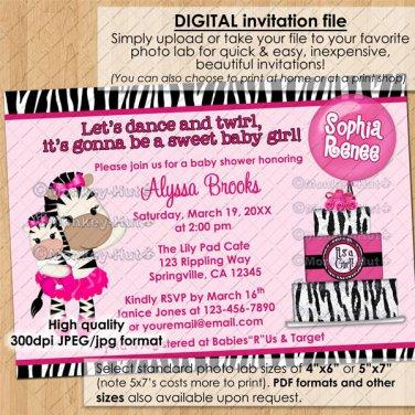 TuTu Cute Baby Shower invitations ZEBRA GIRL / hot pink / DIGITAL INVITATION