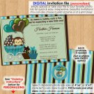 Monkey Baby Shower Invitation carriage MPP teal green brown (Personalized DIGITAL invitations)