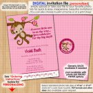 Miss Monkey Baby Shower Invitation MM2 Style#1 (DIGITAL)
