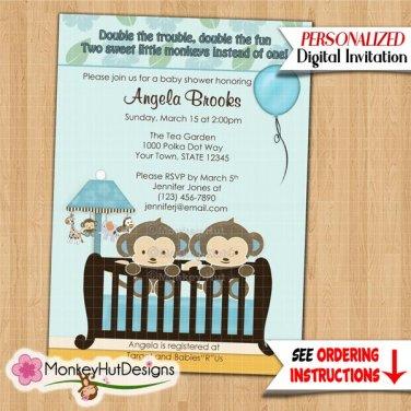 TWINS Monkey Baby Shower invitation crib Blue CJ-B (DIGITAL)