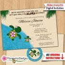 Turtle baby shower invitations HONU sea turtles luau girls boys Personalized DIGITAL INVITATION #078
