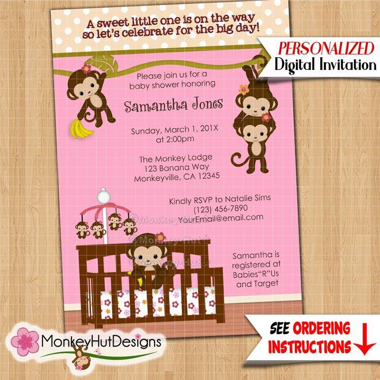 Melanie Monkey Baby Shower Invitation Girl Jungle Safari