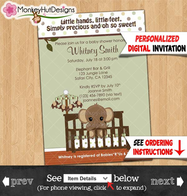 Mod Green & Brown ELEPHANT Baby Shower Invitations Personalized DIGITAL INVITATION 022