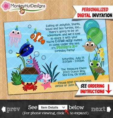 Ocean Under The Sea Birthday Party Invitations Personalized DIGITAL INVITATION #342
