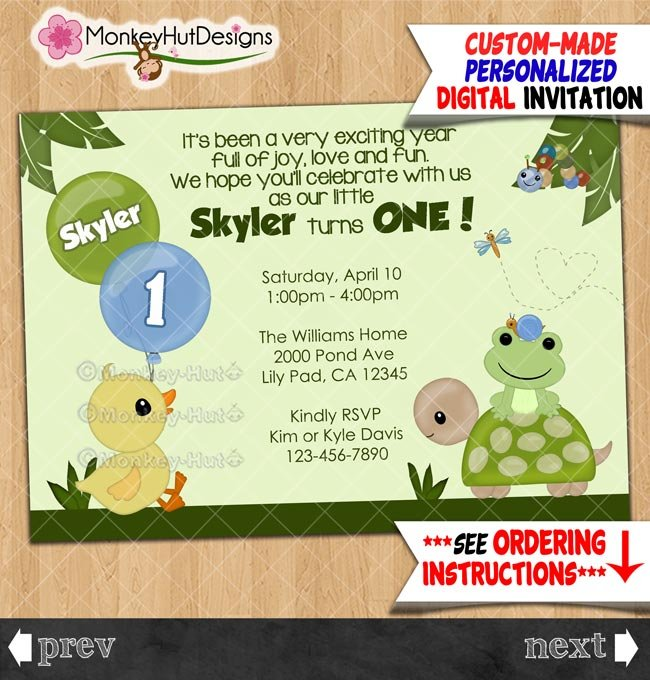 Duck Frog Pond-themed Birthday Party Invitations Personalized DIGITAL INVITATION #370