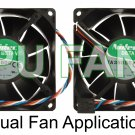 Dell XPS Fans Dual CPU Case Cooling Fans F7553 G4 Gen 4 Generation 4  92x38mm 5-pin/4-wire