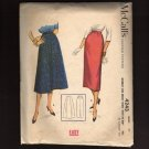 McCall's 4243 Sewing Pattern Vintage 1950s Skirts Wiggle with pleat and 4 panel A-line Waist 26