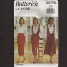 Butterick 3078 Sewing Pattern J. G. Hook Misses Blouse, Vest, and Skirt 1990s Bust 30.5 31.5 32.5