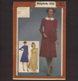 Simplicity 9727 Sewing Pattern Misses Princess style dress with detachable collar Bust 36 1980s