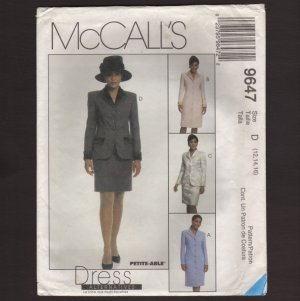 McCall's 9647 Sewing Pattern Misses Coatdress or Suit Jacket and Skirt 12 14 16 1990s Bust 34 36 38