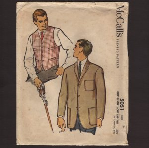 McCall�s 5051 Sewing Pattern Men�s Blazer Jacket and Vest Chest 34 1950s