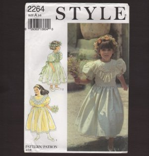 Style 2264 Flower Girl Jr Bridesmaid Dressy Dresses Sewing Pattern Size A  3  4  5  6  7  8  1990s
