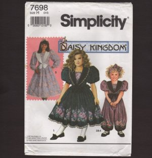 Simplicity 7698 Girl's Romper and Dress Sewing Pattern Daisy Kingdom Flower Girl Size 3 4 5 1990s