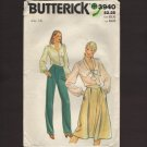 Butterick 3640 Misses Straight legged Pants and Flared Skirt Sewing Pattern Waist 28 1980s