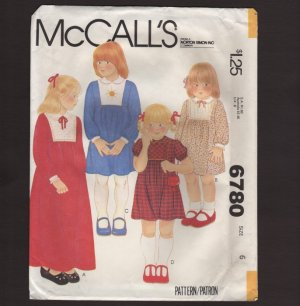 McCall's 6780 Child�s Front Yoke Dress two lengths back zipper Sewing Pattern Size 6 1970s