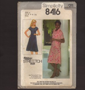 Simplicity 8416 Misses Pullover Knit Dress and Unlined Jacket Sewing Pattern Bust 38 40 42 1970s