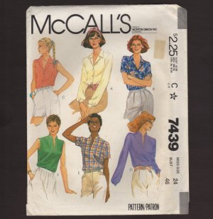 McCall's 7439 Misses Shirts Button or Pullover 3 sleeve length Sewing Pattern Size 24 Bust 46 1980s