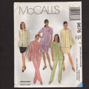 McCall's 9676 Women's Top, Pull-on Pants, Skirt, Scarf Sewing Pattern Bust 48 50 52 1990s