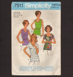 Vintage Simplicity 7911 Women�s Tops Simple-To-Sew Sewing Pattern Sz W 40 42 Bust 44 46 1970s