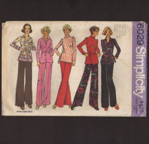 Vintage Women�s Top Blouse and Pants Simplicity 6029 Sewing Pattern Sz 40 42 Bust 44 46 1970s