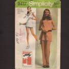 Vintage Misses Tunic Top Pants and Shorts Simplicity 9417 Super Jiffy Sewing Pattern Bust 34 1970s