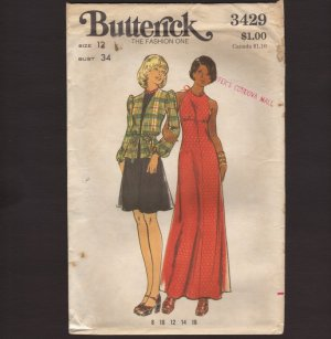 Butterick 3429 Misses Halter Evening Dress with Long Sleeve Top Sewing Pattern Bust 34 1970s