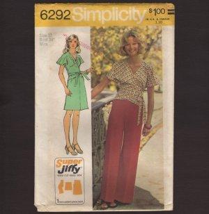 Retro Wrap Tie Top A-Line Skirt Wide Leg Pants Misses Simplicity 6292 Sewing Pattern Bust 34 1970s