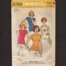 Misses Stretch Knit Pullover Tops Simplicity 6289 Sewing Pattern Blouse Bust 34 1970s