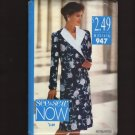 Butterick 947 See&Sew Misses Double-Breasted Dress Long Sleeves Sewing Pattern Bust 34 36 38 1990s