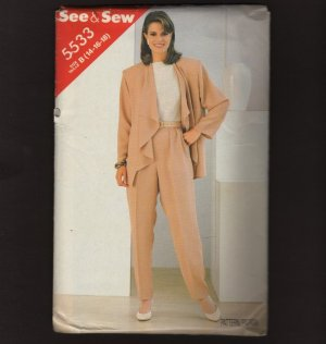 Butterick 5533 Misses loose Jacket Tapered Pants Sewing Pattern See & Sew Bust 36 38 40 1980s