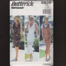 Butterick 6836 Misses Fitted Sun Dress Jumper Fast & Easy Sewing Pattern Bust 34 38 38 1990s