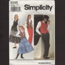 Simplicity 8548 Misses Pants ruffled Skirt Lined Vest Sewing Pattern Bust 30.5 31.5 32.5 1990s