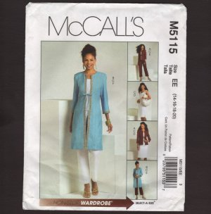 McCall's 5115 Misses Jacket Coat Top Skirt Pants Sewing Pattern SZ 14-20 Bust 36 38 40 42 2000s
