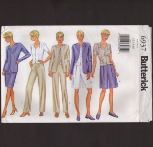 Butterick 6937 Misses Jacket Top Skirt Shorts Pants Sewing Pattern 12�16 Bust 34 36 38 2000s